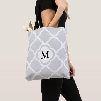 Tote Bag Motif floral gris de Quatrefoil avec le monogramme