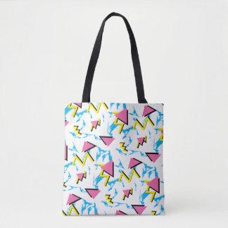 Tote Bag Motif Fourre-tout de rétro motif de Memphis plein