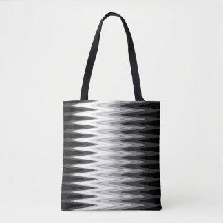 Tote Bag Motif gris blanc noir de zigzag