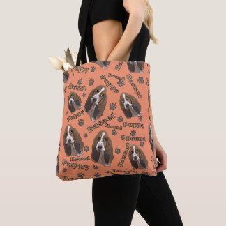 Tote Bag Motif mignon d'empreintes de pattes de Basset