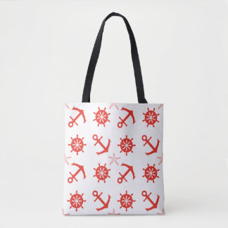 Tote Bag Motif nautique rouge