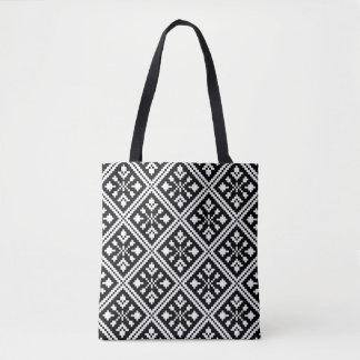 Tote Bag Motif noir et blanc de flocons de neige de Noël