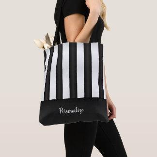 Tote Bag Motif noir et blanc de rayure