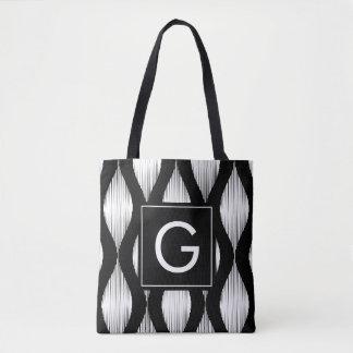 Tote Bag Motif noir et blanc d'ikat de monogramme fait sur