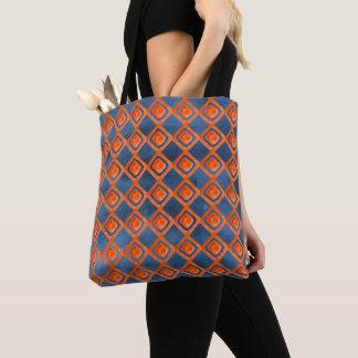 Tote Bag Motif orange d'aquarelle de bleu marine
