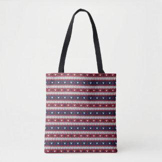 Tote Bag Motif patriotique de chandail de Noël