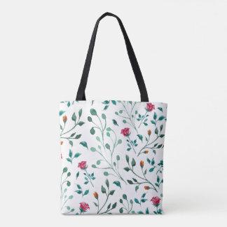 Tote Bag Motif rose de floraison d'aquarelle