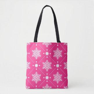 Tote Bag Motif rose et blanc Girly de Noël de flocons de