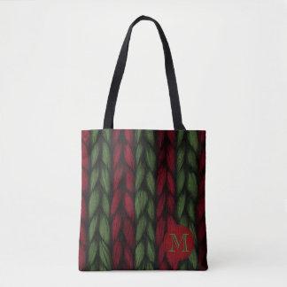 Tote Bag Motif rouge et vert de monogramme rustique de Knit