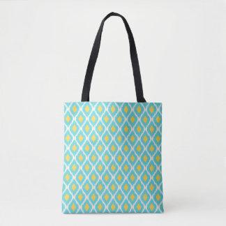 Tote Bag Motif tribal aztèque jaune bleu à la mode d'Ikat