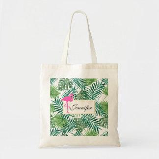 Tote Bag Motif tropical de feuille et flamant rose