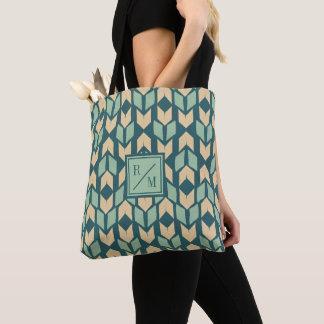 Tote Bag Motif turquoise géométrique extérieur de flèche