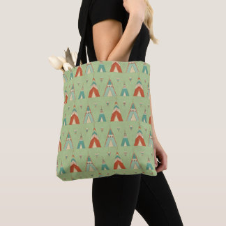 Tote Bag Motif vert de Teepee d'étape | de Geo de sud-ouest