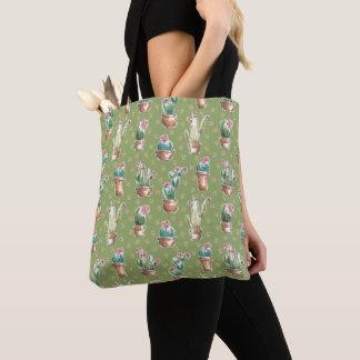 Tote Bag Motif vert d'étape | de fleur de désert