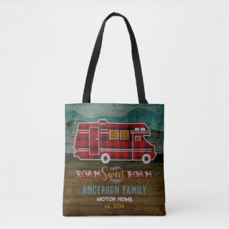 Tote Bag Motorhome rv Camper Travel Van Rustic Personalized