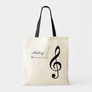 Tote Bag musique de nom, initiale et noire de clef triple
