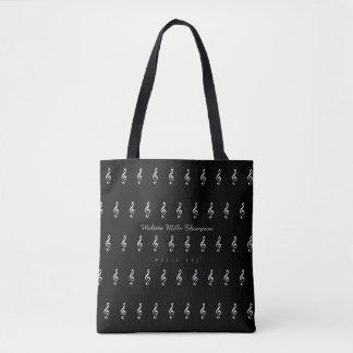 Tote Bag musique fourre-tout noir avec le nom