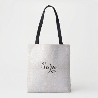 Tote Bag NEW-White-Damask_Bridal-Favor-Tote's-Shoulder-Bag