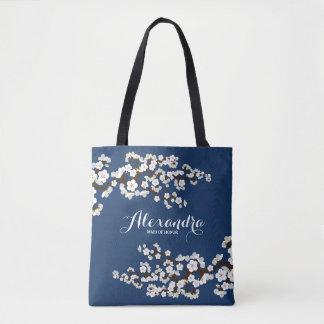 Tote Bag Noce Fourre-tout (marine) de Sakura de fleurs de