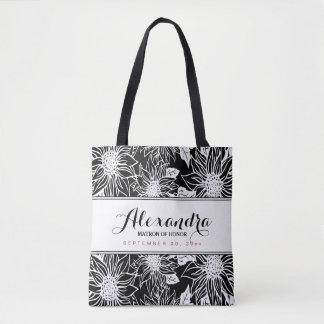 Tote Bag Noce Fourre-tout (noir) de tournesols de croquis