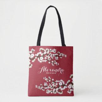 Tote Bag Noce Fourre-tout (rouge foncé) de Sakura de fleurs