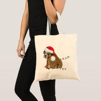 Tote Bag Noël anglais de chiot de bouledogue
