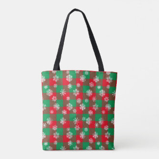 Tote Bag Noël de plaid de Buffalo de flocon de neige