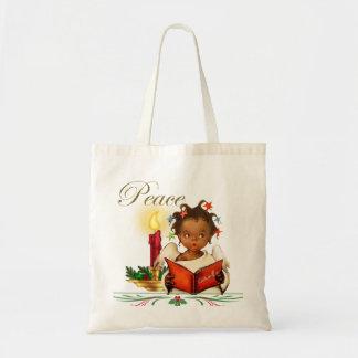 Tote Bag Noël Fourre-tout avec la fille vintage