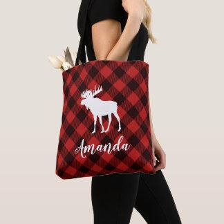 Tote Bag Noël rouge de motif de plaid d'orignaux et de