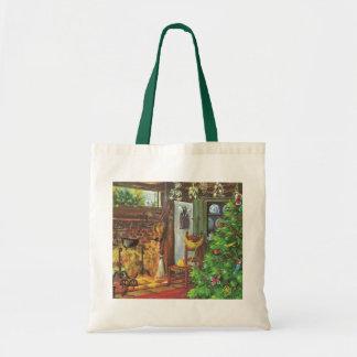 Tote Bag Noël vintage, cabine de rondin confortable avec la