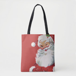 Tote Bag Noël vintage, cligner de l'oeil gai du père noël