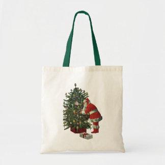 Tote Bag Noël vintage, le père noël avec des présents