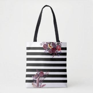 Tote Bag Noir/blanc barre le boho romantique floral