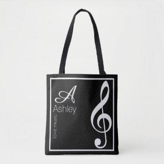 Tote Bag noir de musique de clef triple