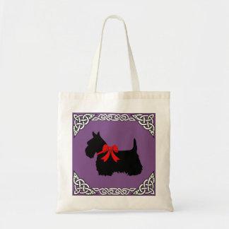 Tote Bag Noir de Terrier d'écossais, tresse cletic blanche,