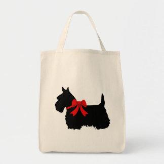 Tote Bag Noir de Terrier d'écossais, tresse cletic, coeur