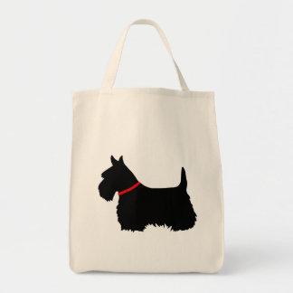 Tote Bag Noir de Terrier d'écossais, tresse cletic, collier