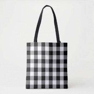 Tote Bag Noir et blanc moderne de motif de plaid de Buffalo