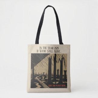 """Tote Bag noir et blanc, """"sauvez notre planète"""","""
