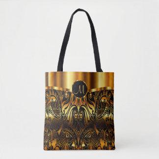 Tote Bag Noir et conception de Paisley d'or