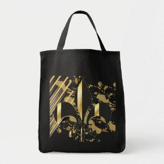 Tote Bag Noir et Gold Fleur de Lis