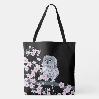 Tote Bag Noir rose de hibou et de fleurs de cerisier