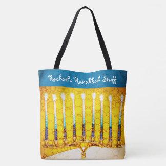 Tote Bag Nom de coutume de photo de menorah de Hanoukka