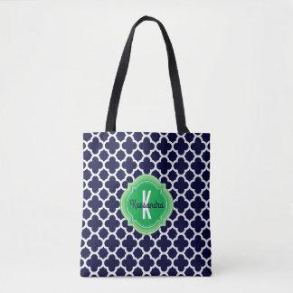 Tote Bag Nom de monogramme de vert de bleu marine de