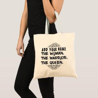 Tote Bag Nom fait sur commande drôle la femme le guerrier