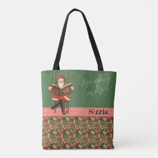 Tote Bag Nom fait sur commande vilain ou Nice de Père Noël