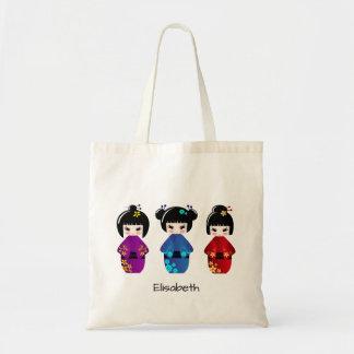 Tote Bag Nom mignon de bande dessinée de poupées de kokeshi