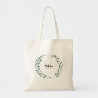 Tote Bag Nom moderne de monogramme de branche d'olivier