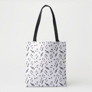 Tote Bag Notes musicales noires et blanches