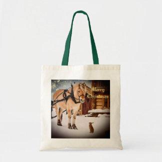 Tote Bag Nuit de Noël étoilée à la ferme avec le cheval